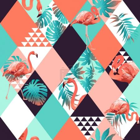 Exotic beach trendy seamless pattern, patchwork illustrated floral vector tropical flomingo and leaves. Jungle pink flamingos Wallpaper print background mosaic