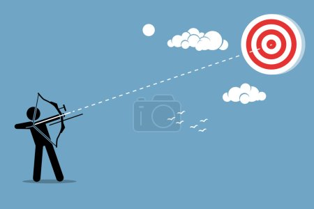 Person using a bow to aim and shoot an arrow to a target in the sky.