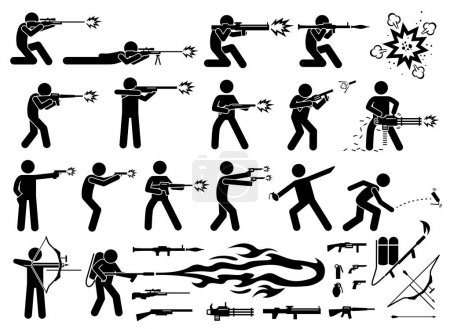 Man attacks with various type of modern warfare weapons.