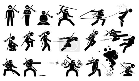 Ninja assassin movement and fighting skills with Japanese weapon sword and shuriken to attack.