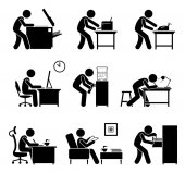 Employees using office equipments in workplace