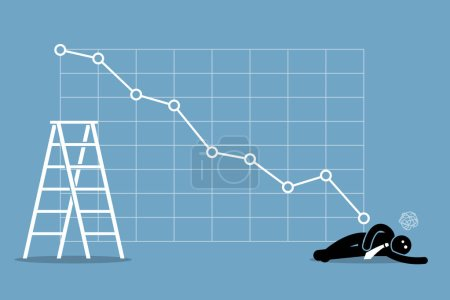 Illustration for Vector artwork depicts financial failure, bearish stock market, bad sales, business loss, and investment lost. - Royalty Free Image