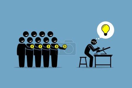 Illustration pour L'illustration vectorielle représente la collecte de fonds auprès des gens en travaillant sur un projet ou une entreprise qui a une bonne idée brillante . - image libre de droit
