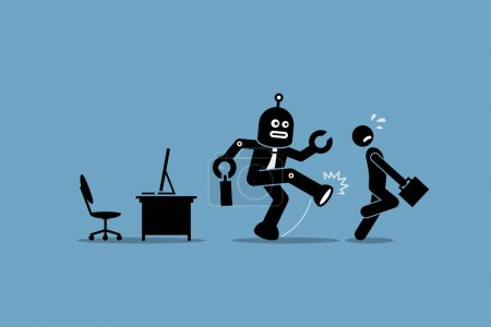 Robot employee kicks away a human worker from doing his computer job at office.