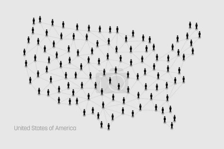 Vector map depicts people connecting through a lar...