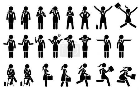 Illustration pour Les œuvres d'art représentent diverses actions de femmes d'affaires telles que sauter, utiliser le téléphone, pointer, penser, parler, marcher et courir . - image libre de droit