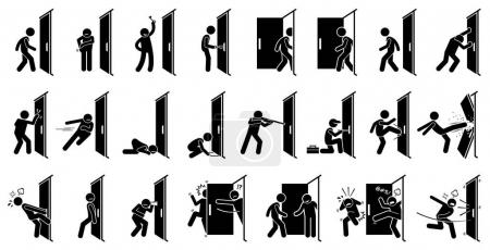 Illustration for Cliparts depict various actions of a man with a door. - Royalty Free Image