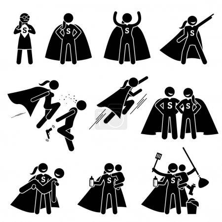 Illustration pour Cliparts représente une superfemme dans diverses poses et actions. Elle est également une super-mère occupée qui peut faire des travaux ménagers et prendre soin de sa famille . - image libre de droit