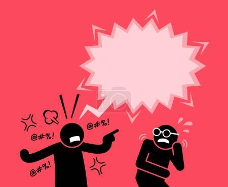 Illustration pour Il le blâme et l'accuse d'actes répréhensibles. Son ami a peur de sa réaction. . - image libre de droit