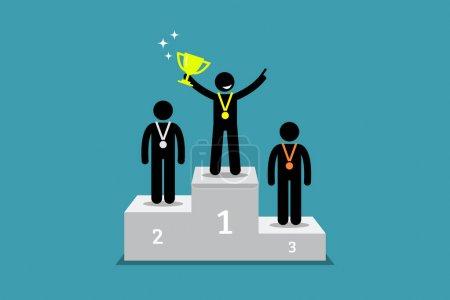 Illustration pour Les illustrations vectorielles représentent champion, vainqueur, triomphe et plus grand . - image libre de droit