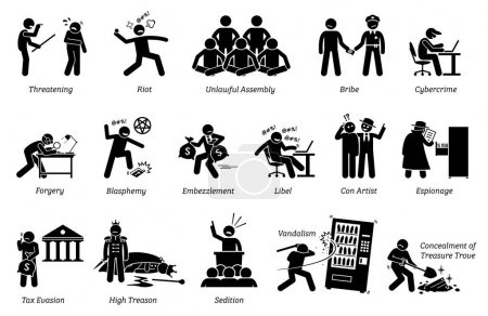 Pictogram depicts various criminal activities that...