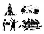 Crazy Cat Lady Stick Figure Pictogram Icons