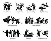 Social Problems and Critical Issues Stick Figure Pictogram Icons