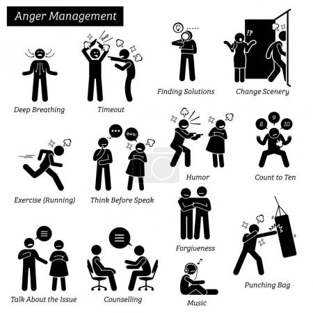 Illustration for Illustrations depicts ways and methods to calm down and vent during outburst, angry, bad temper, stress, and problem. - Royalty Free Image