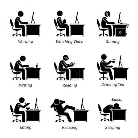 Führungskräfte, die am Büroarbeitsplatz vor einem Computer arbeiten. der Geschäftsmann schaut auch Videos, Spiele, schreibt, liest, schläft, isst, trinkt Kaffee und entspannt am Computer.