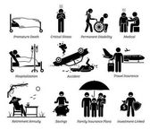 Life Insurance Protection Stick figures depict life insurance protection for premature death critical illness permanent disabilities medical hospital  accident travel and saving plans