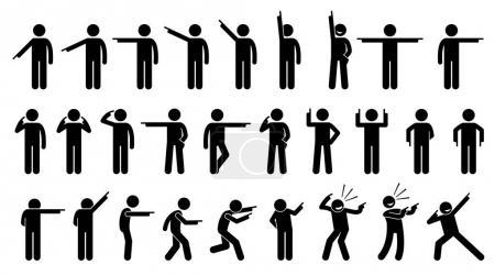 Illustration pour Figures de bâton d'une personne pointant du doigt. Un ensemble de figures de bâton montrant un homme pointant dans différentes directions sur différentes poses et positions . - image libre de droit