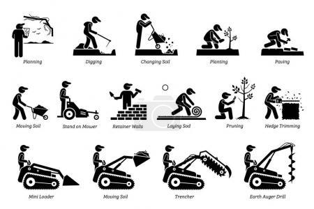 Illustration pour Icônes d'aménagement paysager et d'horticulture. Icônes dépeignent paysagiste et jardinier activités de travail dans la pelouse du jardin . - image libre de droit