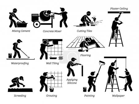 Illustration for Home Improvement and House Renovation Icons. Pictogram depicts workers and specialists renovating, upgrading, and repairing building. - Royalty Free Image