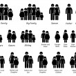Family and People Icons. Stick figure pictograms d...