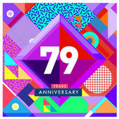 79 years greeting card anniversary with colorful number and frame logo and icon with Memphis style cover and design template