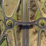 Aerial birds eye view of the M7 motorway in Irelan...