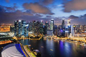 Wonderful night view of skyscrapers at downtown of Singapore