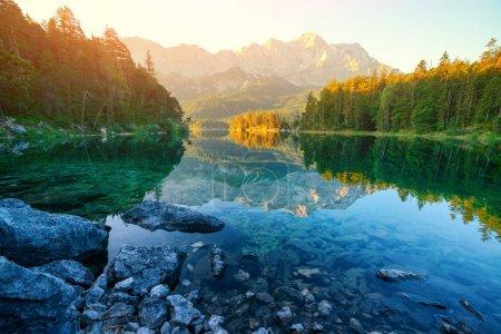 Fantastic sunrise on mountain lake Eibsee