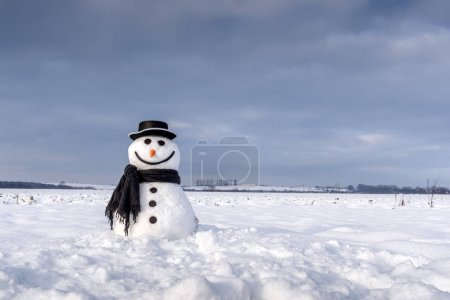 Funny snowman in black hat