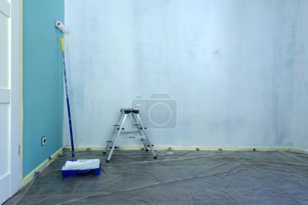 Painting tools on wall background