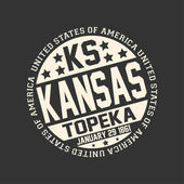 Decorative stamp on black background with postal abbreviation KS state name Kansas capital Topeka and date become a state January 29 1861 with text United State of America around it