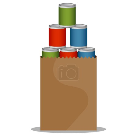 Illustration for An image of a Canned Food Drive bag. - Royalty Free Image