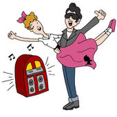 Sock Hop Rock and Roll Fifties Dancing Couple
