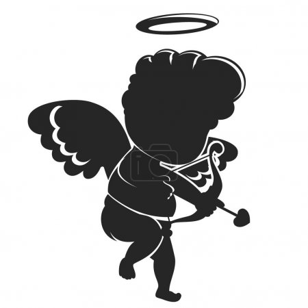 Illustration for Cupid silhouette stands with a bow and shoots on a white background. Valentines day - Royalty Free Image