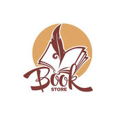 Book Store Logo Template With Lettering Composition