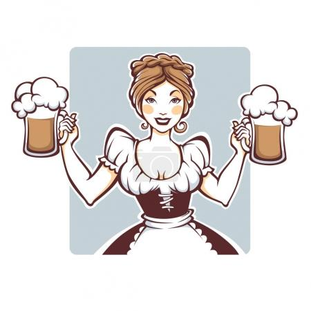 beauty and sexy vector  German girl holding a draft beer portrai