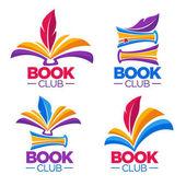 book club library or shop vector cartoon logo template