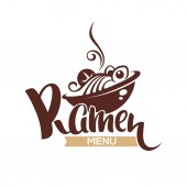 Ramen Menu vector logo template with bowl full of noodle and le
