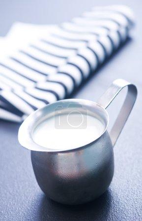 Milk in metal jug