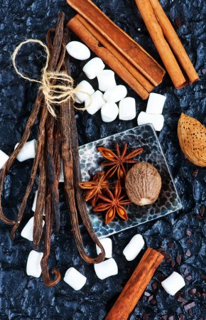 Aromatic spices on a table