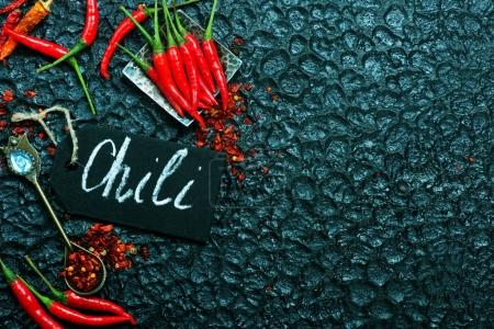 chili peppers on table
