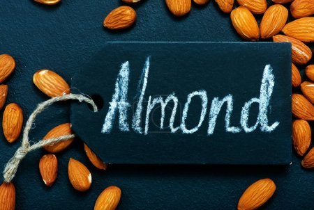 dry almonds on table