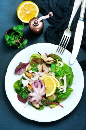 Fresh salad with seafood