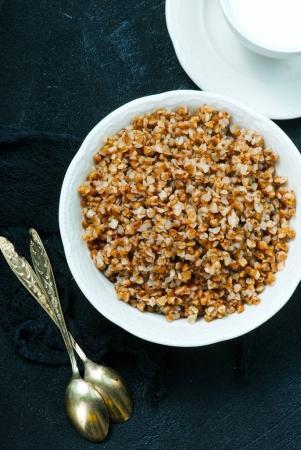 boiled buckwheat in bowl