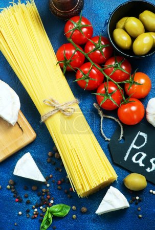 raw pasta with spices