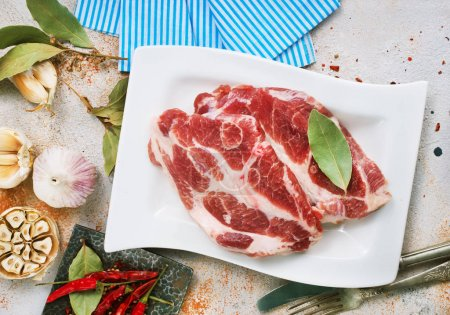 Photo for Raw meat with salt and aroma spices on white plate - Royalty Free Image