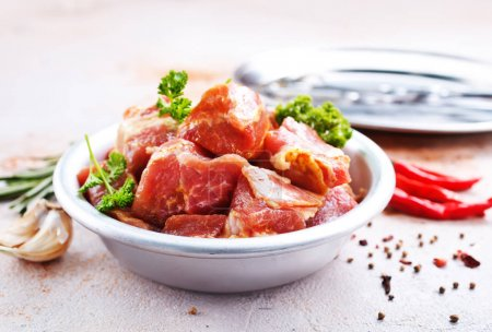 Photo for Raw meat with spices and salt for kebab - Royalty Free Image