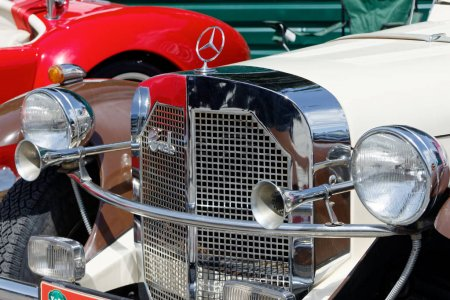 Kharkiv, Ukraine - May 28, 2017: Close up of retro car Mercedes-Benz Gazelle manufactured in1926 is presented at the festival of vintage cars Kharkiv Retro Rally - 2017 in Kharkiv, Ukraine on May 28, 2017
