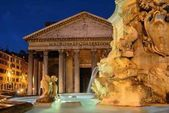 Pantheon at night with fountain