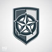 Vector shield with pentagonal Soviet star protection heraldic blazon Communism and socialism conceptual symbol Ussr design element